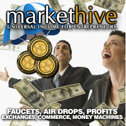 Markethive - Man Woman coins and dollar falling:  subtitle- faucets, air drops, profits.